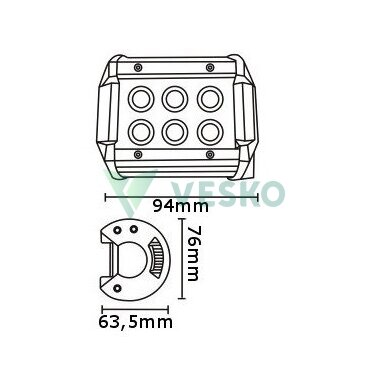 LED Žibintas 18W, 10-30V, 6 CREE LEDx3Wb 2