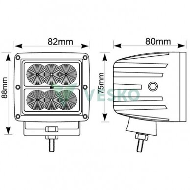 LED Žibintas 18W 10-30V 6 LED 2