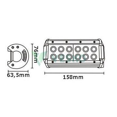 LED Žibintas 36W, 10-30V, 12 CREE LEDx3W 2